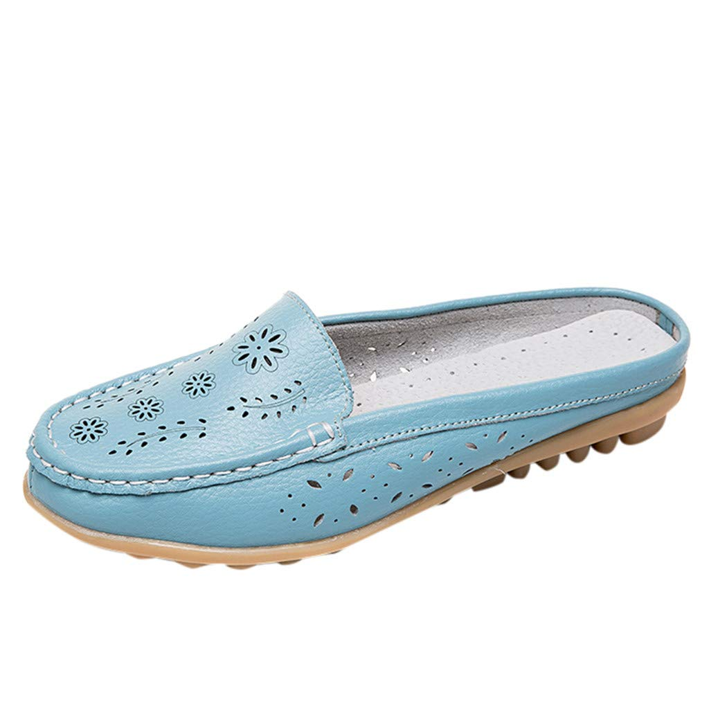 Leather Leather,ONLY TOP Women Casual Summer Breathable Slip-On Backless Slipper Mule Loafer Flats Shoes Hollow Out Light Blue by ONLYTOP_Shoes