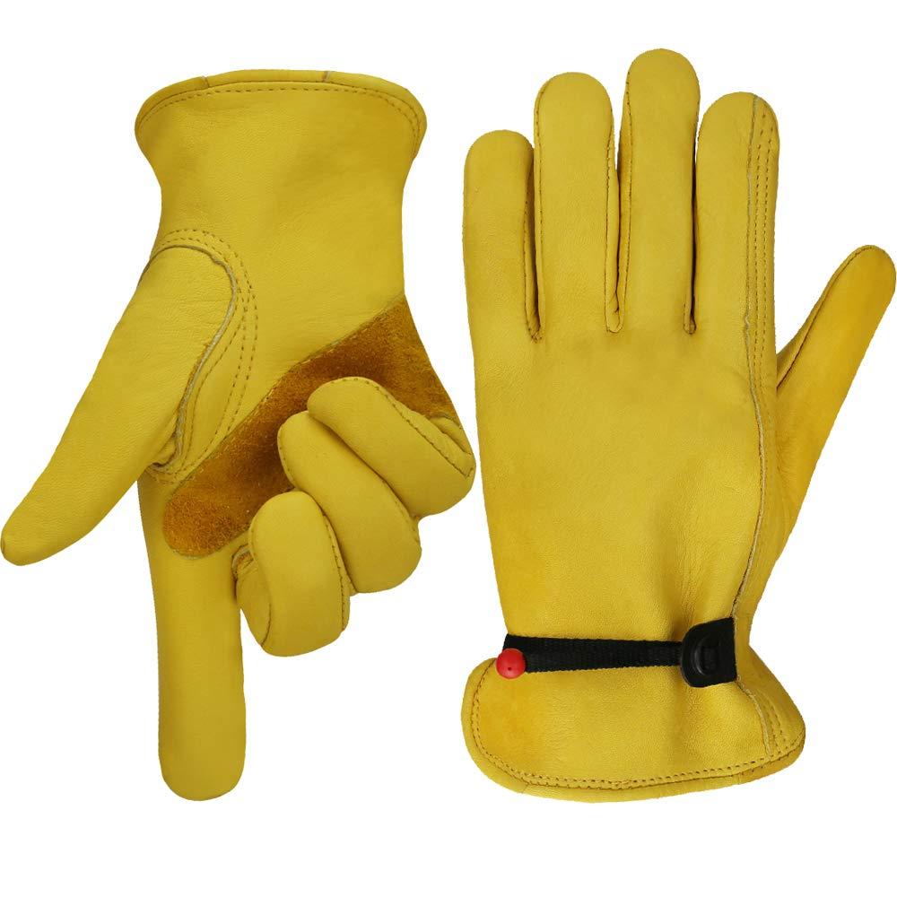 OLSON DEEPAK Work gloves Leather Gardening Glove with tape Wrist Closure, Garden Gloves,Flex & Good Grip for Logging/Wood Cutting/Forest Work/Driving - Perfect Fit for Men & Women(Medium)
