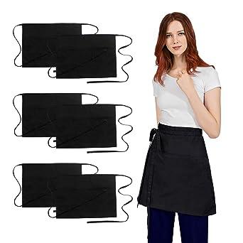 Men Women Bar Apron Waiter Waitress Pockets Short Half Size Cafe Restaurant