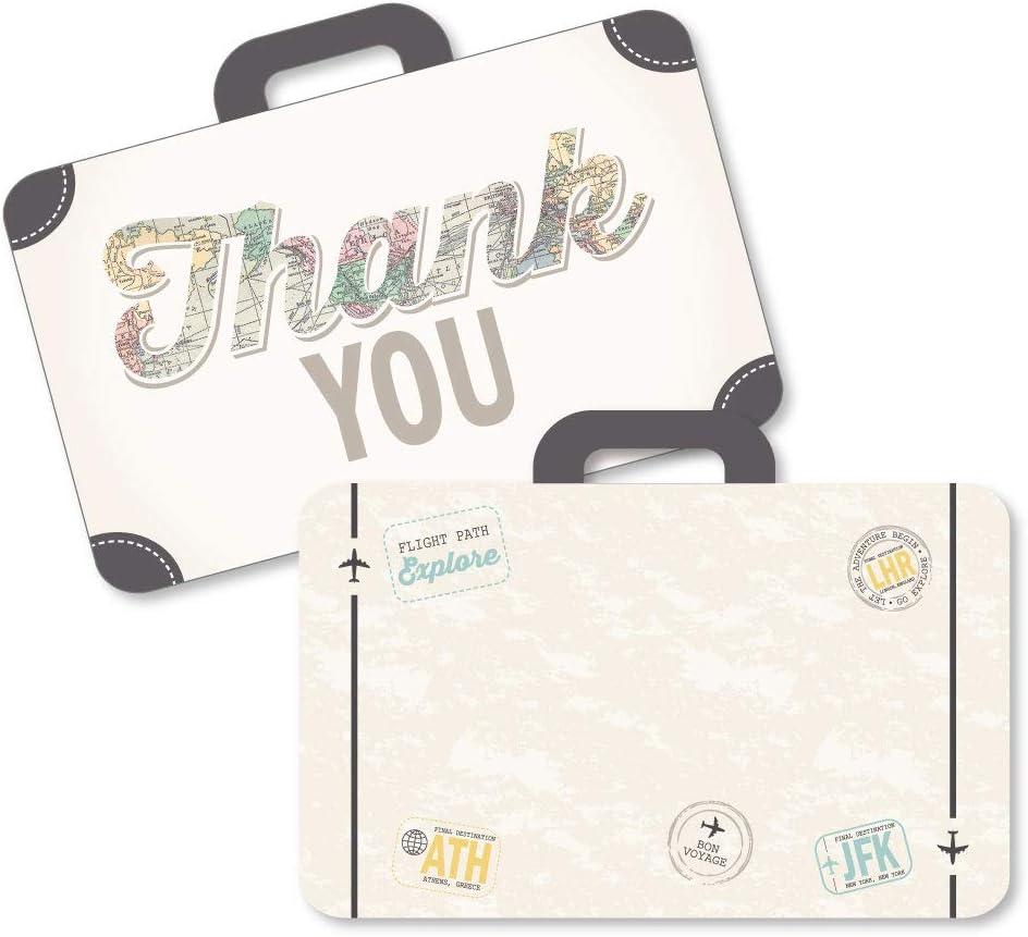 세계 는 기다립니다 - 모양의 감사 카드 - 여행 테마 파티 는 봉투와 함께 메모 카드를 감사 - 12 세트