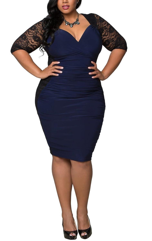 Dilanni Women Party Deep-V Neck Lace Dress Plus Size (0X-5X) NUPZ003
