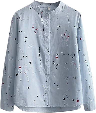 Fossen Blusas para Mujer Verano Otoño 2019 Elegantes - Suelta Versión Coreana Camisa de Manga Larga con Estampado Floral - Clásico Retro Blusa Originales para Oficina, Fiesta, Vacaciones: Amazon.es: Ropa y accesorios