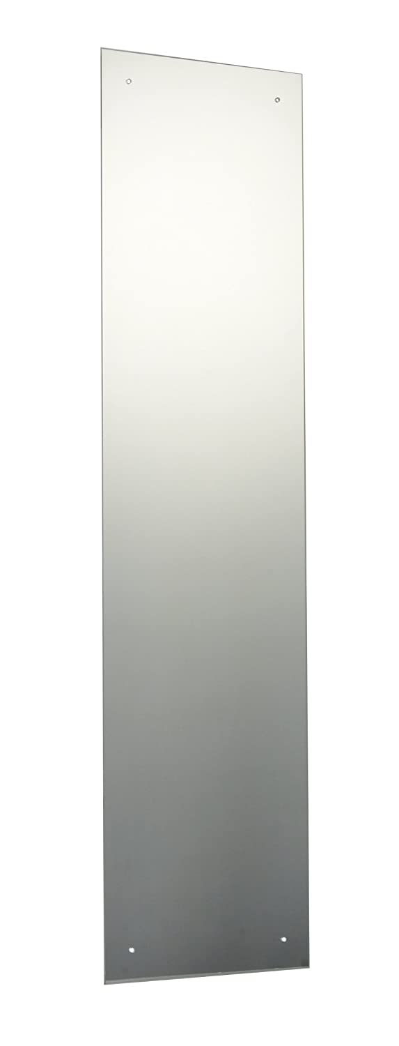 120 x 30cm Rectangle Bathroom Mirror with Drilled Holes & Chrome Cap Wall Hanging Fixing Kit