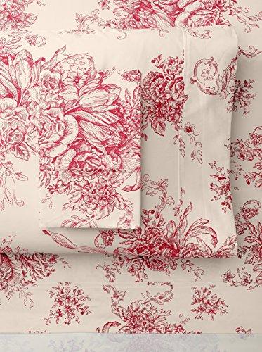 Cotton Toile Sheet Set (Melange Home 202904 Sheet Set, California King, Red Toile)
