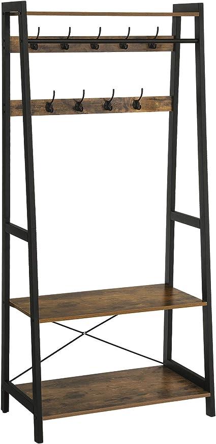 Vintage LGR13BX Flurgarderobe Kleiderst/änder Kleiderablage mit 2 Regalebenen in Holzoptik 9 Kleiderhaken VASAGLE Garderobenst/änder im Industrie-Design Metallrahmen Garderobe