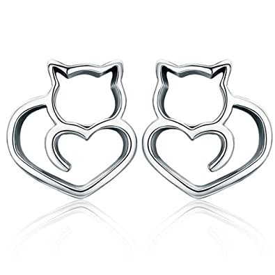 266bc2eaa Image Unavailable. Image not available for. Color: Kitty Stud Earrings 925  Sterling Silver ...