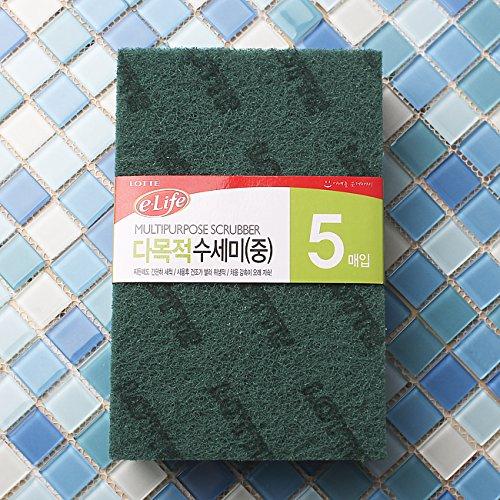7.8 x 5.1 x 0.2 Inch Lotte e-Life Multipurpose Scrubber 5 PCS Made In Korea Nylon Staple Fiber Scrub Sponge Scouring Pads General Purpose