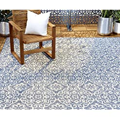 Garden and Outdoor Home Dynamix Patio Country Danica Outdoor Rugs, 6'6″x9'2″ Rectangle, Blue/Gray outdoor rugs
