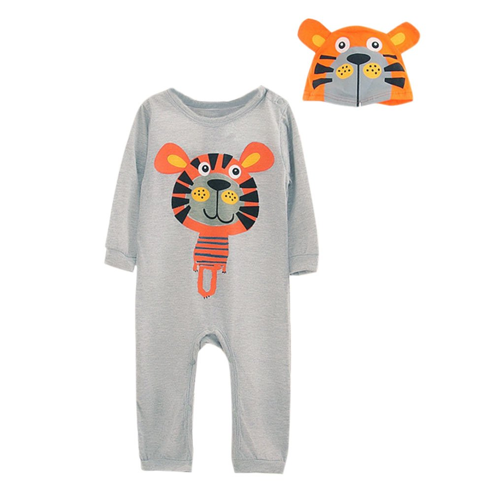 CHIC-CHIC Ensemble Bébé Garçons Fille 2pc Combinaison Grenouillère Barboteuse Body + Bonnet Chapeau Animal Cartoon Pyjama
