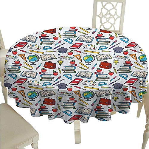 Supply Linens Milliken - Kids Elegant Waterproof Spillproof Polyester Fabric Table Cover Elementary School Theme Student Supplies Globe Paints and Brushes Books Education Indoor Outdoor Camping Picnic D50