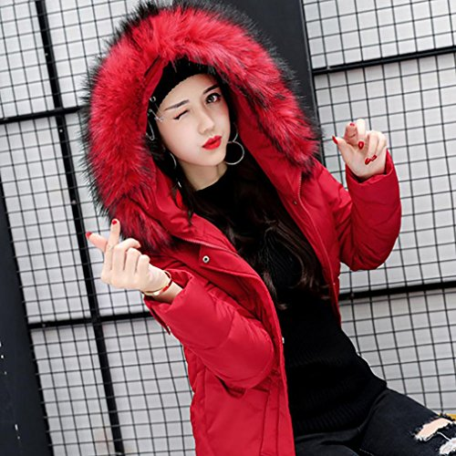 Slim Tinta Women Pocket Unita Red In Winter Cotton Cappuccio Thcik Chshe Pelliccia Coat Parka Outwear Collo Zipper Blend Girls Jacket Con Patchwork Sallor zPzvxdq