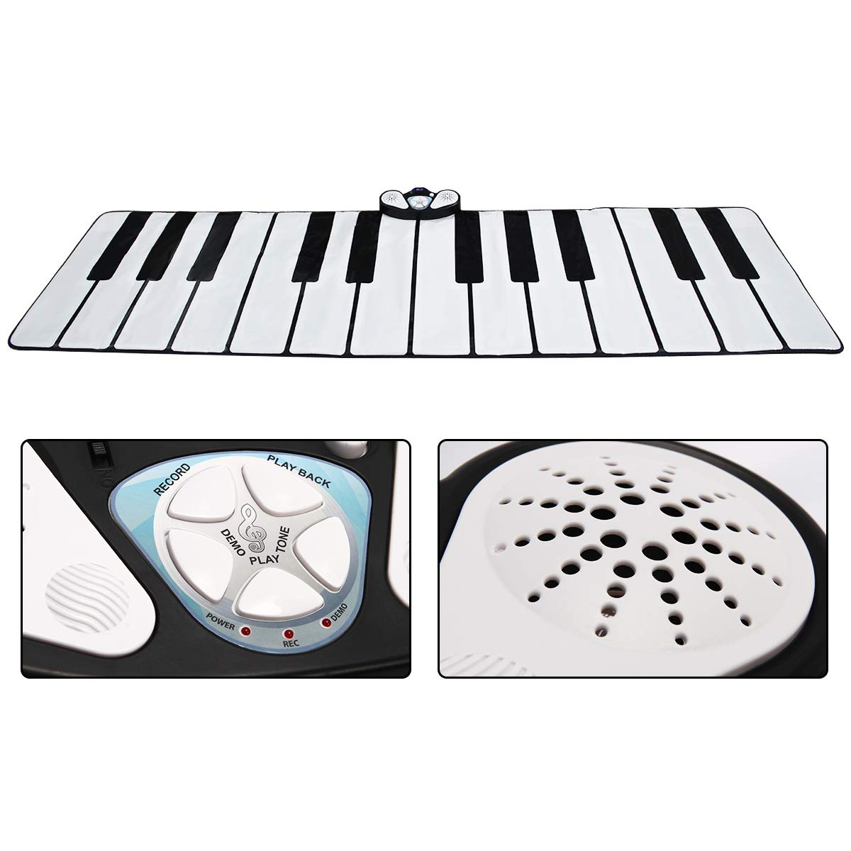 Costzon Giant Keyboard Playmat, 24 Keys Piano Play Mat, Foldable Activity Mat w/ 9 Selectable Musical Instruments, Play - Record - Playback - Demo - Tone Conversion Modes, Support MP3, Phone Play by Costzon (Image #6)
