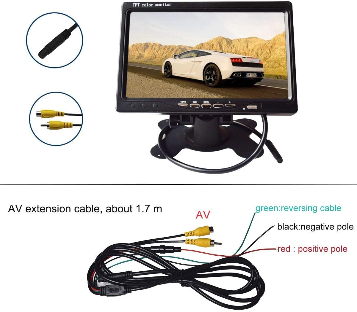 Camecho Rear View Camera AV Cable Without Color Change Vehicle DC12V 24V Waterproof Backup Camera for Truck//Trailer//Van//Camper