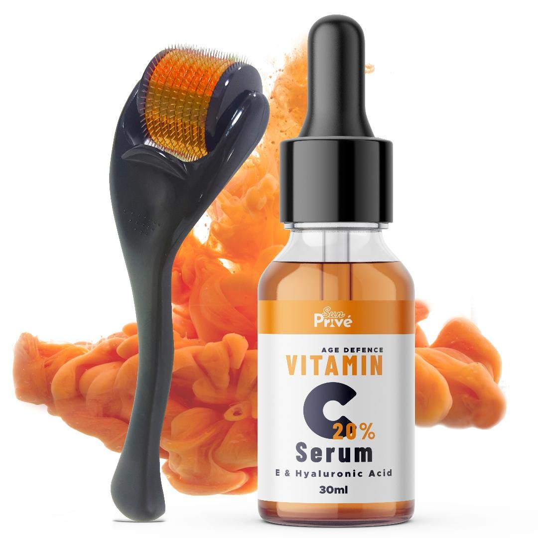 SunPrive Vitamin C Serum 20% with Hyaluronic Acid - Powerful Anti Aging & Anti Wrinkle Solution For Face - Also included Micro Derma Roller 0.5 MM - Made in UK