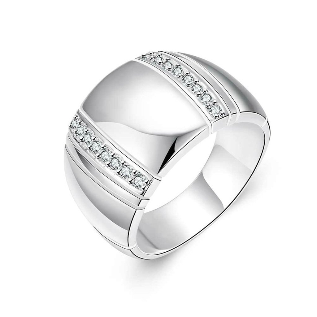 Womens Wedding Bands Wide Ring Cubic Zirconia Silver Epinki Silverd Plated Ring