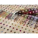 Bronte 100% Pure Lambs Wool Sofa Throw Blanket - Beige Multi Spot Check Design