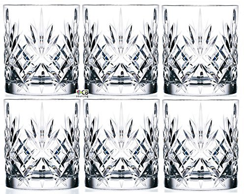 Set Of 6 Double Old Fashioned Crystal Glassware Set, Perfect for serving scotch, whiskey or mixed drinks (Set of 6-9 Oz DOF Glasses) (Best Cheap Mixed Drinks)