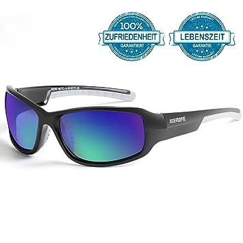 BTERDNE Sportbrille Polarisiert Fahrradbrille Sport Sonnenbrille für Herren und Damen UV400 Schutz Extra Leicht TR90 Rad Autofahren Laufen Golf v7RnxvtX