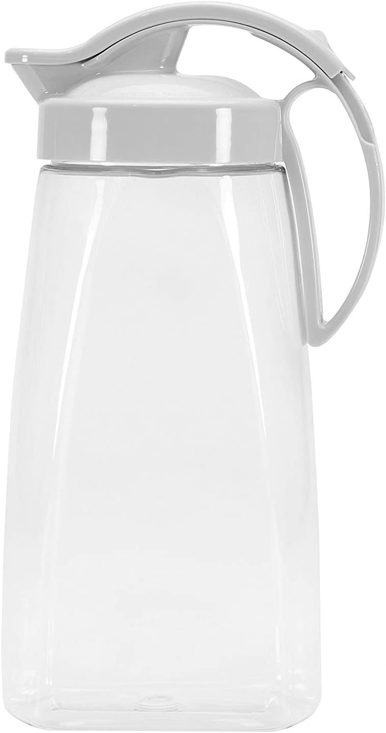 High Heat Resistant One-touch Airtight Pitcher 2.3QT (74oz) for Water, Coffee, Tea, & Other Hot or Cold Beverages | Leak Proof & Space Saving, Dishwasher Safe | Made in Japan