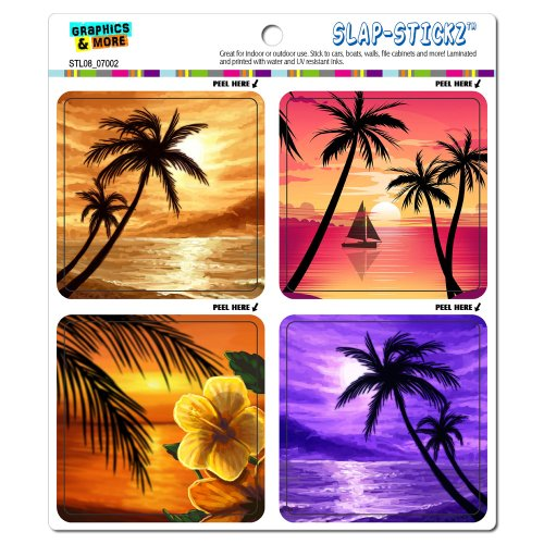 Tropical hibiscus SLAP STICKZ Automotive Stickers