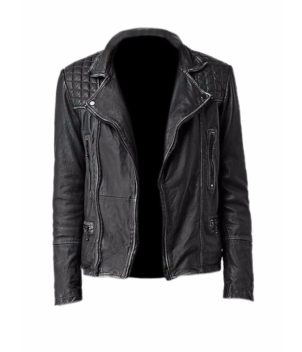 21a4f92c5c9 Amazon.com: Feather Skin Mens Clothing Cargo Biker Leather Jacket ...