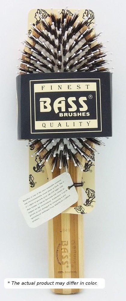 Brush - Large Oval Cushion 100% Wild Boar / White Nylon Bristles Beveled Wood Handle Bass Brushes 1 Brush