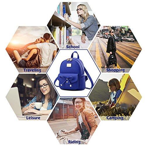 Fashion Small Blue Cute Daypacks Girls Purse Mini and Women Backpack Leather tPxq4HIgwq