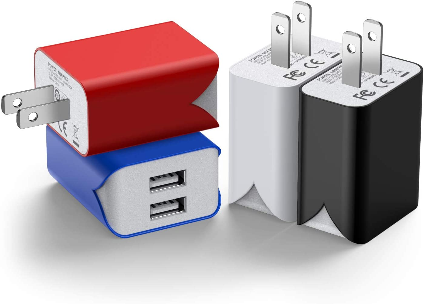 USB Wall Charger, 4 Pack 2.1A Dual Port Charging Block Power Adapter Home Plug Travel Cube Compatible iPhone 11 Xs Max Xr X 8 iPad Air Samsung Galaxy S10 S9 Note 9 8 Kindle