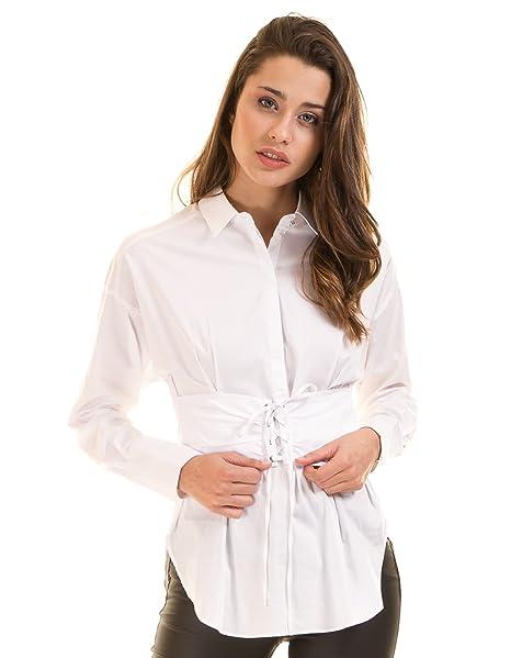 Morgan de Toi Camisa Blanca Popelina con fajín (Blanco - 40) 3d5c2a32253