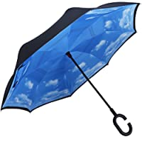 GN Double Layer Inverted Umbrella,Windproof Folding Reverse Umbrella Inside Out Umbrella with C-shaped Handle