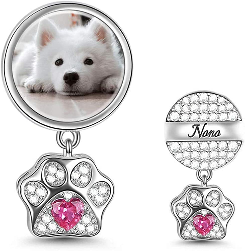 GNOCE Cat Dog Charms Pendant Sterling Silver Customised Photo Dangle CharmsMy Pet My Family Engravable Picture Charm with Pet Paw fit for Bracelet//Necklace