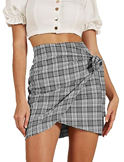 3658a569c Amazon.com: KLJR Women Checkered Irregular Hem Casual Bodycon High Waisted  Mini Skirts: Clothing
