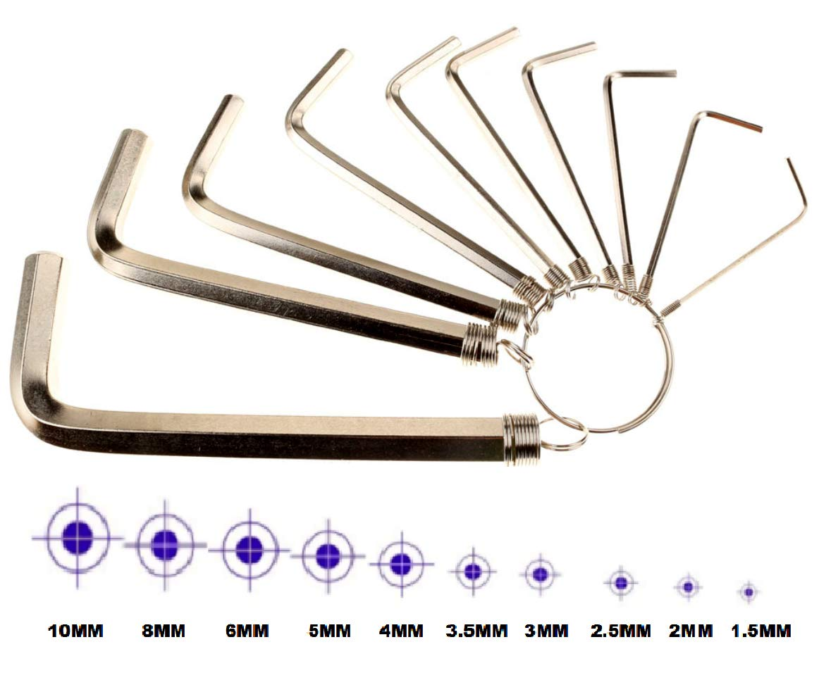 8 WRENCHES - INDUSTRIAL GRADE Pure steel B-FUL Allen Wrench Hex Key Set Set Sizes 1.5-6mm