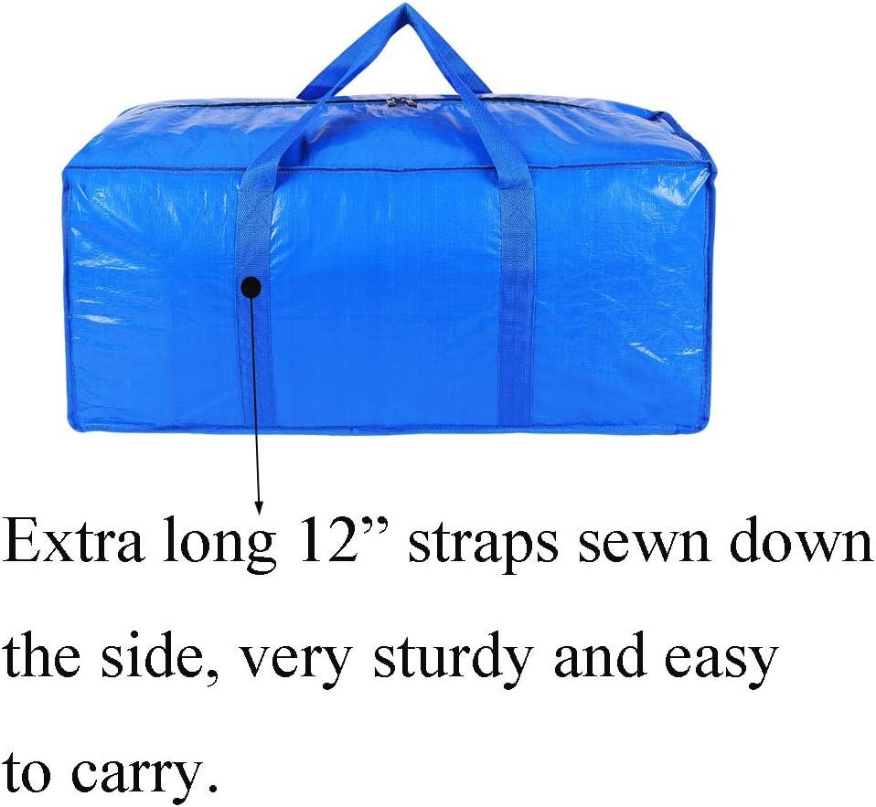 Camping KHIKILY Heavy Duty Extra Large Storage Bags Moving Bag Totes for Travelling College Carrying Christmas Decorations Storage Blue - Set of 6 Moving
