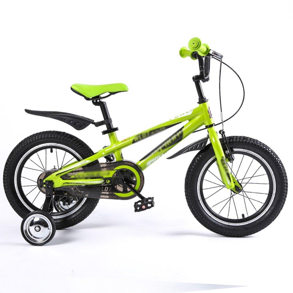 Bicicletas para niños Feifei 16 Pulgadas Azul Manillar Ajustable en Altura (Color : Verde)