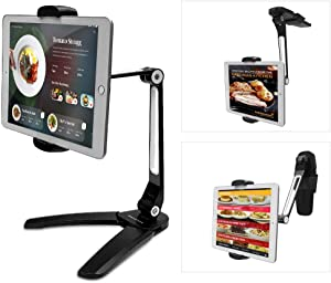 AboveTEK Kitchen Tablet Stand – HIGHFlex 360 Superior Strength Portable 4.7 to 13.5 Inch Universal Tablet Stand & Phone Holder for Kitchen, Counter & Wall – 4 PT Wobble Free Mount (Black)