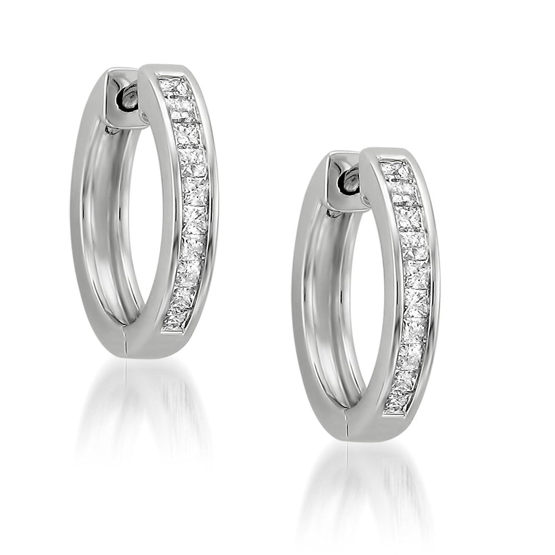 Amazon 14k White Gold Princess cut Diamond Hoop Earrings 1 2