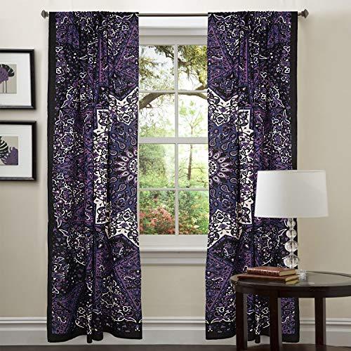 Valance Tapestry - GDONLINE Exclusive Purple Star Mandala Bedroom Window Curtains Indian Drape Balcony Room Decor Curtain Boho Set Tapestry Curtains Drapes & Valances Bohemian