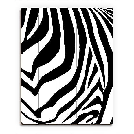 Zebra Simplified   Black: Pop Art Graphic Illustration Of Chest Of Zebra  Wall Art