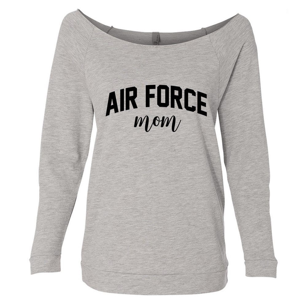 Air Force Mom Raw Edge Neckline Off The Shoulder Lightweight Pullover Sweater For Women