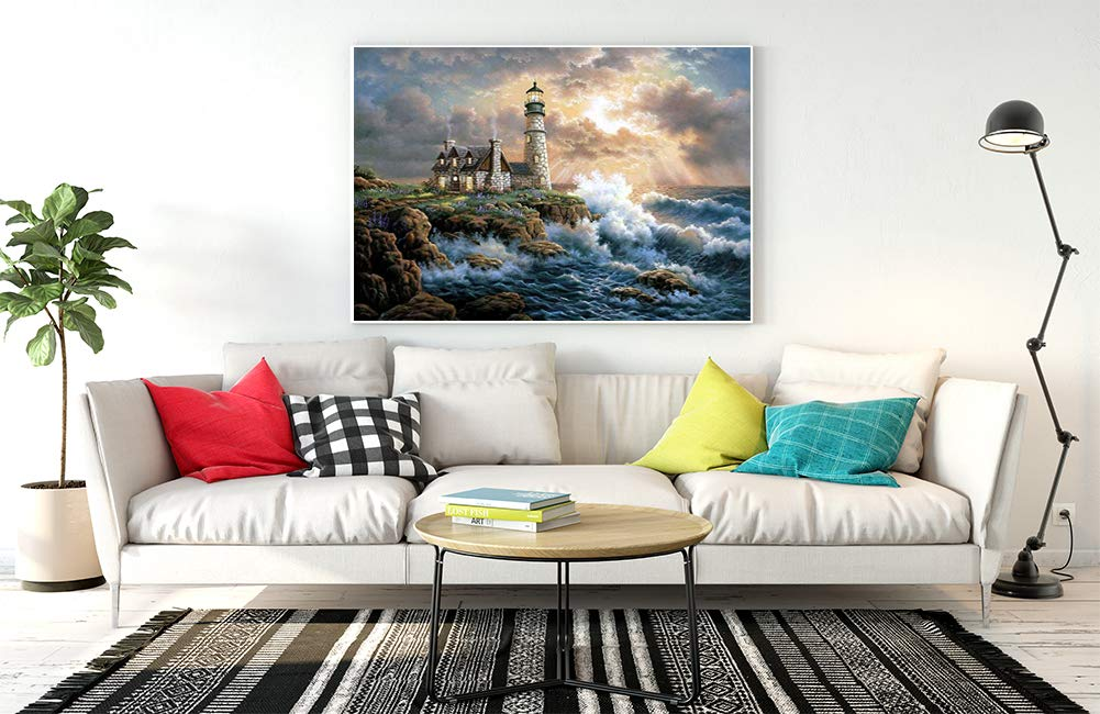 Mobicus DIY 5D Diamond Painting by Number Kits,Full-Drill Embroidery Painting,Wall Art Home Decor(Lighthouse,14X18inch)