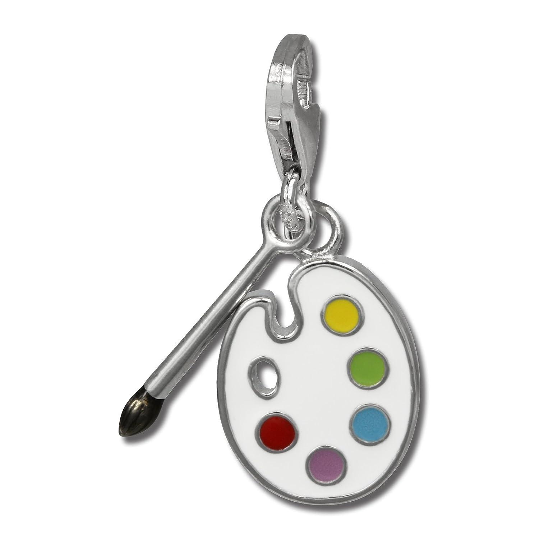SilberDream Charm 925er Silber Emaille Anhänger weiß Malerpalette FC836F