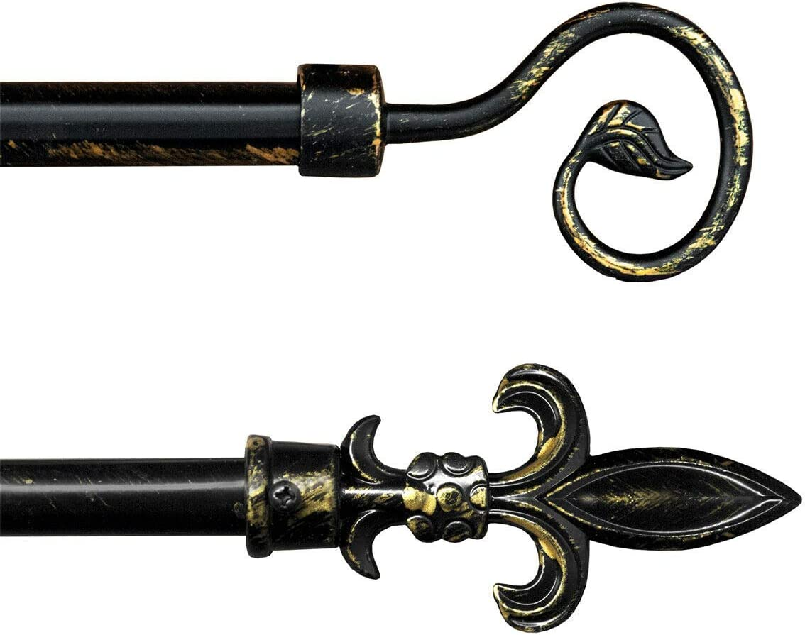 Barra de cortina antigua extensible 120-210 cm hierro forjado negro dorado barra 10 anillas mod. barra cortina antigua