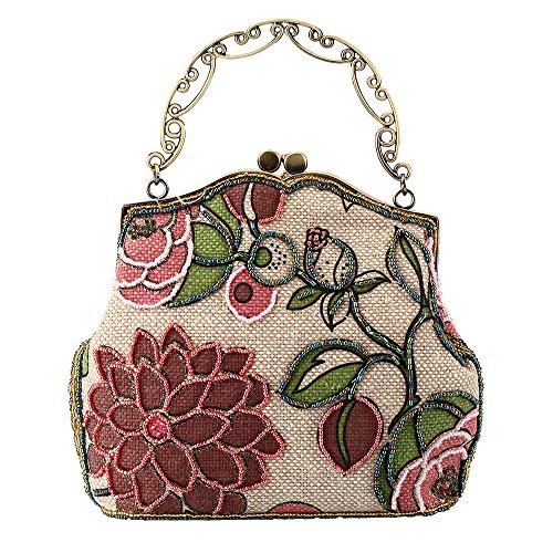 Jeweled Pink Handle Vintage Metal Women Clutch Top Floral Printed Kissing Bag Flower Linen Handbag Lock Evening for ZqdAxqfCw