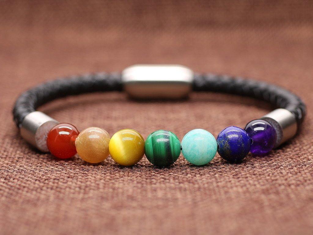 coai Herrenarmband aus 7 Chakra und Lederarmband mit Magnetverschluss