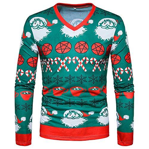162432e2b684 IEason Men Hooded, Men's Autumn Winter 3D Christmas Print Long Sleeve  O-Neck Sweatshirt Blouse