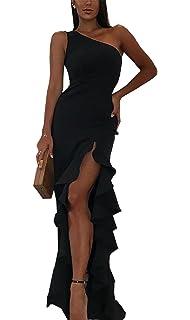 34fbbc56b67a BTFBM 2019 Women s One Shoulder Split Bodycon Mermaid Evening Cocktail Long  Dress