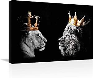 DesDirect Store 2 Piece Set Lion and Lioness King Queen Black Gold Couple Wall Decor Wildlife Royalty Canvas Art Wall Decor Frame - Landscape Wall Art Home Home Decor 36 x 24