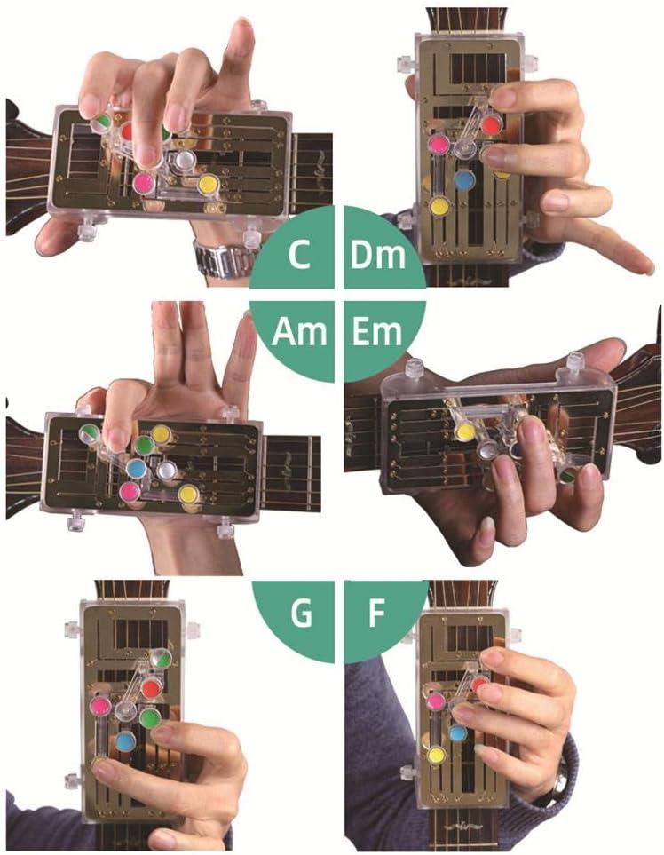 tackjoke Syst/ème dapprentissage De La Guitare Appuyez Simplement sur Les Boutons Pratique /À Une Touche Pratique Aide /À lenseignement avec Neuf Accords Universels pour Les D/ébutants