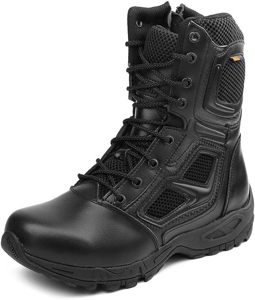 IODSON Zapatos de Hombre Botas/Botas de Combate/Botas Tácticas Ultra-Ligero Antideslizante Tela de Cuero Verdadero Transpirable JR-631